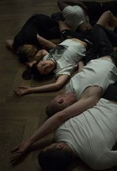 Franziska Aigner, Billy Bultheel, Emma Daniel, Josh Johnson and Enad Marouf in Anne Imhof's Angst, performed at Kunsthalle Basel, 2016