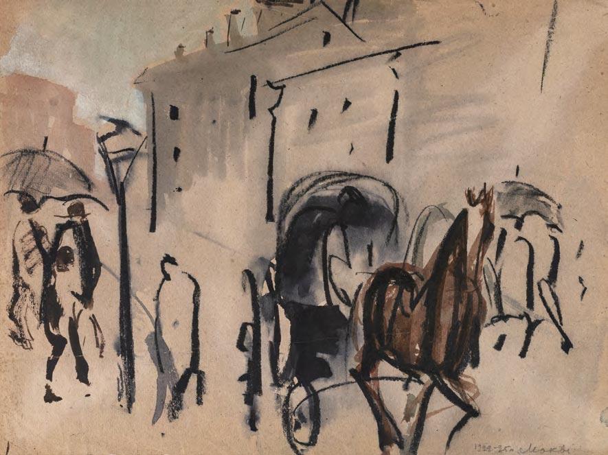 Tatiana Mavrina. Moscow Landscape with Open Carriage. 1922-1925