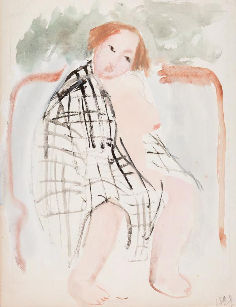 Tatiana Mavrina. Nude in a Checkered Bed Sheet (In a Bathhouse). 1929