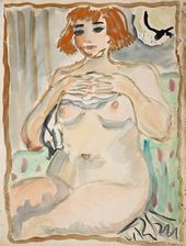 Tatiana Mavrina. Nude. Self-portrait. 1938