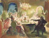 "Tatiana Mavrina. Illustration for the poem of Mikhail Lermontov ""On frenetic feast pensive he sat..."""