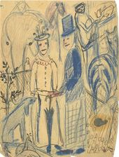 """OLGA SACHAROFF. Drawing (Sketch for the painting """"Family at the Zoo""""). 1924"""