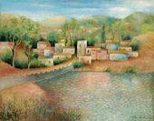 OLGA SACHAROFF. Village at the Bank of a Pond. 1957