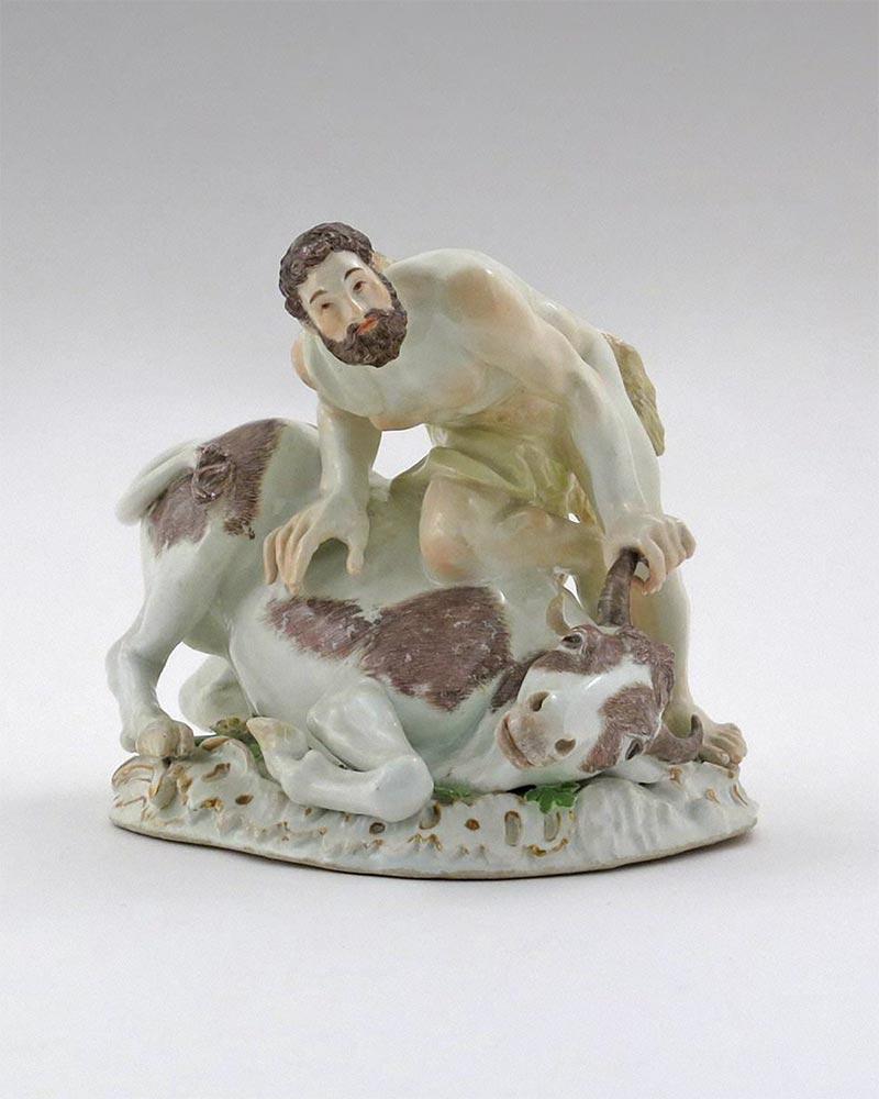 """Hercules Capturing the Cretan Bull"" sculpture. Germany, Meissen Porcelain Manufactory. 1740s-1760s"