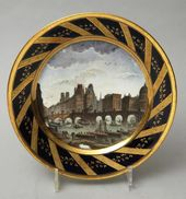 Pieces from a service with views of Paris and its suburbs. France, Dart Brothers Factory. 1800s-1820s
