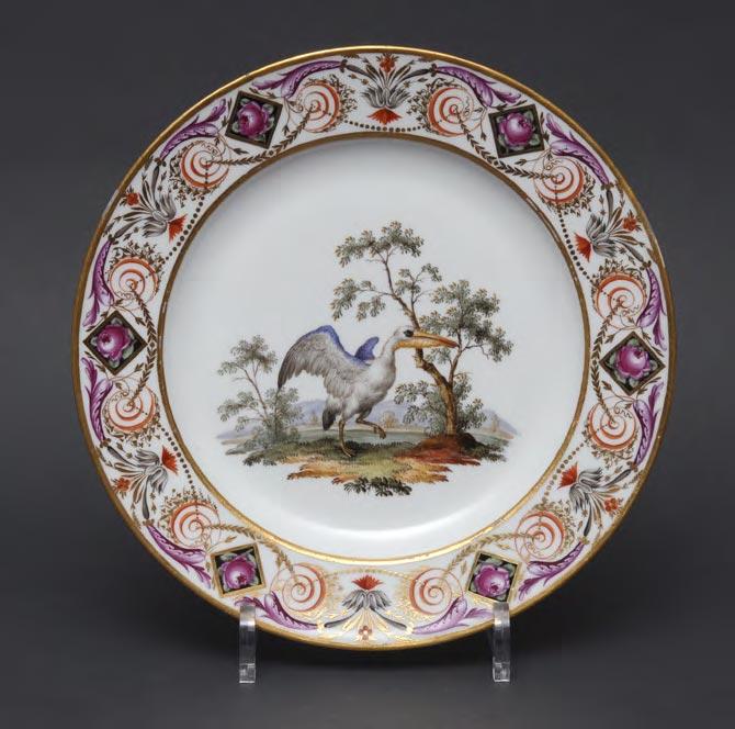 Тарелки из столового сервиза с изображением птиц. Германия, Мейсенская фарфоровая мануфактура. Конец XVIII – начало XIX века