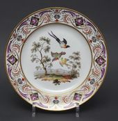 Plates from a dinner service with bird images. Germany, Meissen Porcelain Manufactory. End of the 18th - early 19th century