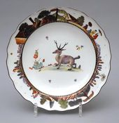 Plates from a dinner service with images of fantastical animals (Zubalov service). Painting by A.F. von Löwenfinck. Germany, Meissen Porcelain Manufactory. About 1735