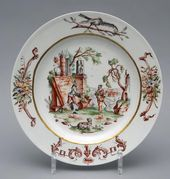Plates with genre scenes. Germany, Meissen Porcelain Manufactory. Decoration by F. Meyer's Painting Studio. About 1747