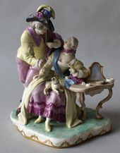 """""""Knight and Lady at a Dressing Table"""" sculptural group. Austria, Royal Vienna Porcelain Manufactory. 1760s"""