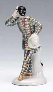 """Harlequin"" sculpture. Germany, Thuringia, Kloster Veilsdorf Manufactory. 1760s"