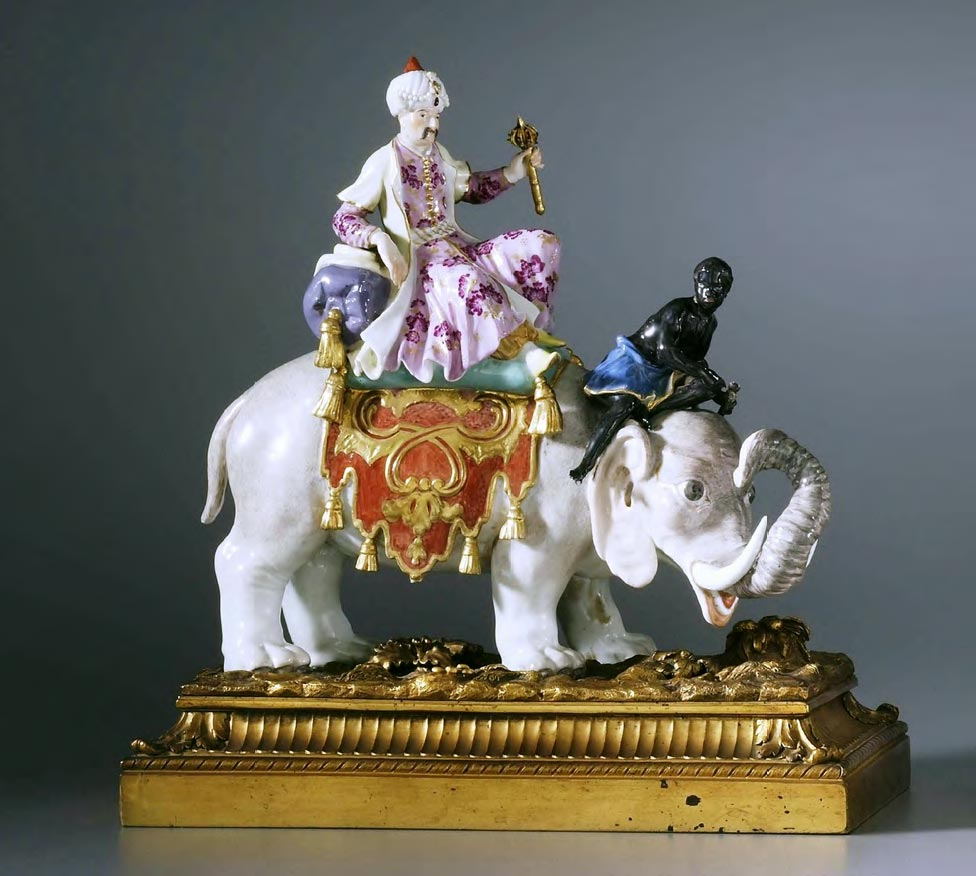 """""""Persian with Moor on Elephant"""" sculptural group. Germany, Meissen Porcelain Manufactory. 1740s-1760s"""