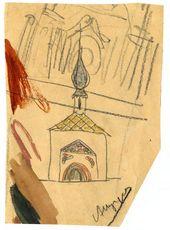 А.В. ЩУСЕВ. Эскиз часовни Св. Анастасии. Первоначальный вариант. Фасад. 1910–1911