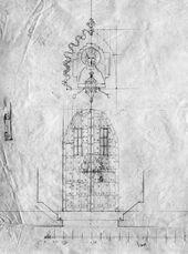 А.В. ЩУСЕВ. Проект портала с киотом часовни Св. Анастасии. Фасад, план. 1911