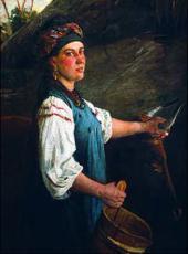 Портрет А.И. Слюсаревой (Гапка с волами). 1875 (?)