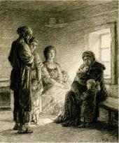 «Сидит Михаила, сложивши руки на коленках, глядит вверх, улыбается». 1886