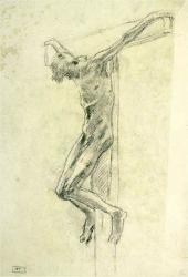 Натурщик в позе распятого Христа