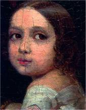 Портрет неизвестной дамы с детьми. 1840. Портрет дочери. Деталь