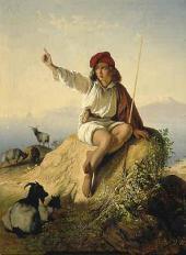 Тимофей НЕФФ. Неаполитанский пастушок на берегу моря, освещенный восходящим солн
