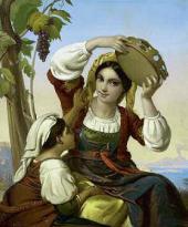 Неизвестный художник. Неаполитанки на фоне Везувия. 1850-е