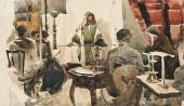 Художники на рисовальном вечере у В.Д.Поленова. 1889