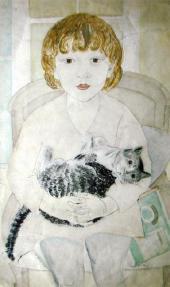 Александра БЕЛЬЦОВА. Таня с кошкой. 1928