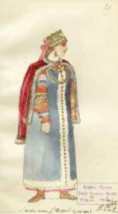 В.И. СИЗОВ. Эскиз женского костюма к опере «Жизнь за царя» М.И. Глинки. Антонида