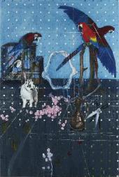 Три попугая с кроликом и ножницами. 2010