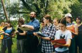 С учениками Школы на пленэре (летняя практика)