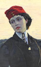 ПОРТРЕТ ДОЧЕРИ ХУДОЖНИКА О.М. НЕСТЕРОВОЙ (≪АМАЗОНКА≫). 1906 Фрагмент