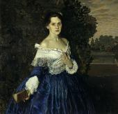 КОНСТАНТИН СОМОВ. ДАМА В ГОЛУБОМ. ПОРТРЕТ ЕЛИЗАВЕТЫ МИХАЙЛОВНЫ МАРТЫНОВОЙ. (1868