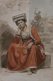 ИТАЛЬЯНКА ИЗ НЕТТУНО. 1828 – 1829. ИЗ СЕРИИ «ИТАЛЬЯНСКИЕ НАТУРЩИКИ В НАЦИОНАЛЬНЫ