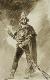 РАЗБОЙНИК, ЧИСТЯЩИЙ РУЖЬЕ ШОМПОЛОМ. КОНЕЦ 1820-Х. ИЗ «ИТАЛЬЯНСКОГО АЛЬБОМА»