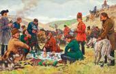 Евгений ЛАНСЕРЕ. Царская охота (Петр I на охоте, Охотники на привале) 1907