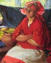 Абрам АРХИПОВ. Девушка в красном. 1916