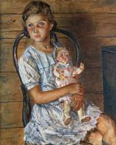 Кузьма ПЕТРОВ-ВОДКИН. Девочка с куклой (Портрет Татьяны Урлауб). 1937