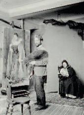 Леонид Осипович Пастернак пишет портрет Розалии Александровны Розенфельд. Москва