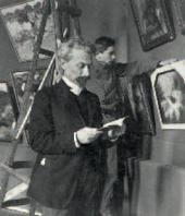 Леонид Пастернак и его сын Александр готовятся к Весенней выставке Союза русских