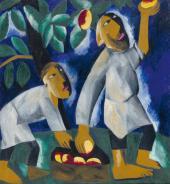 Н.С. Гончарова Крестьяне, собирающие яблоки. 1911