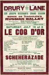 Афиша гастролей «Русских балетов Сергея Дягилева» в Лондоне. 1914
