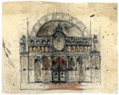 А.В. Щусев. Эскиз иконостаса для храма Св. Троицы в Кугурештах. 1913–1914