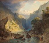 Грирогий Гагарин. Переправа горцев через реку. 1840-е