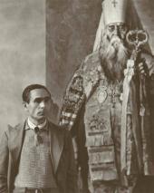 П.Д. Корин около этюда «Митрополит Сергий». 1943