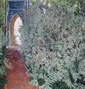 Вид в парке. Пейзаж с голубым павильоном. 1910