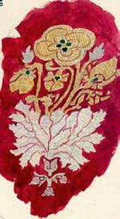 Цветочный орнамент. Фрагмент. Лист из папки с рисунками и расцветками тканей