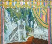 Балкон замка. Эскиз декорации для постанов кикомедии П.-О. Бомарше «Безумный ден