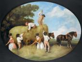 Джордж Стаббс. Живописная эмаль на керамической плакетке с изображением сцены
