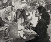 Т.Н. Яблонская за работой над картиной «Хлеб». 1949