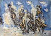 М.В. Федорова. Эскиз костюмов «Труженицы» из триптиха «Ветры тридцатых»