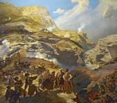 Г.Г. Гагарин. Сражение между русскими войсками и черкесами при Ахатле 8 мая 1841